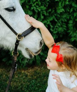 Girl petting horse by Ryals Photo